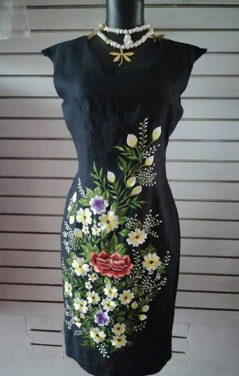 Vestido María lino puro bordado artesanal