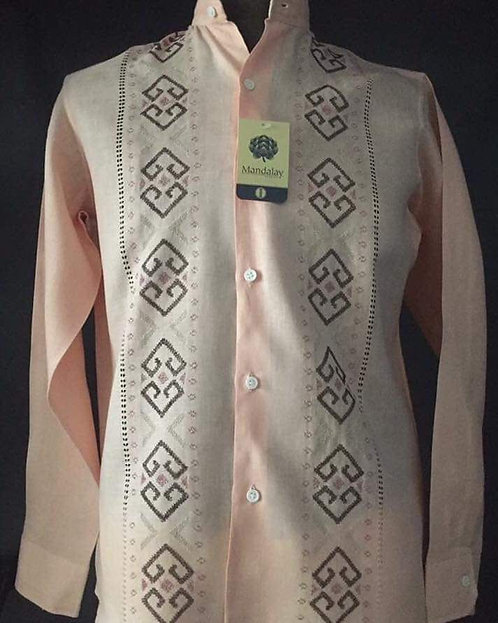 Camisa Ismael 2 deshilados a mano con bordados