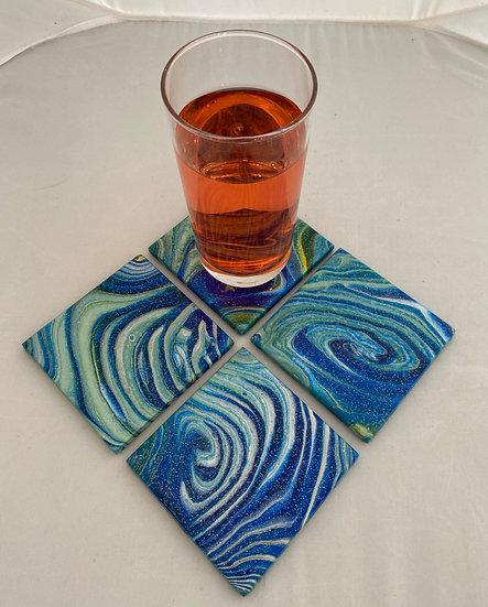 Hand Painted Ceramic Tile Coaster Set