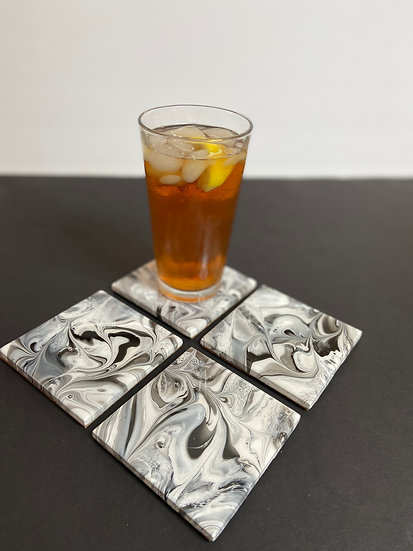 Gray Hand Painted Ceramic Tile Coaster Set