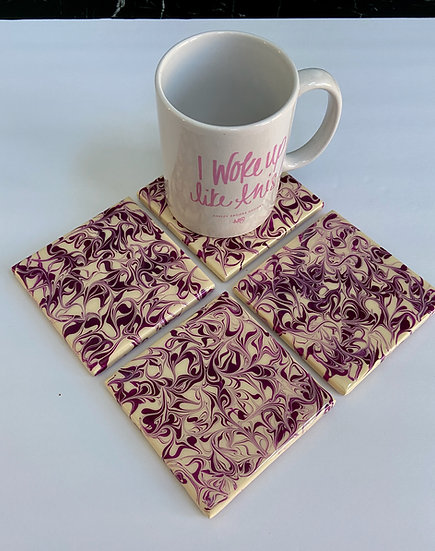 Hand Painted Ceramic Tile Coaster Set
