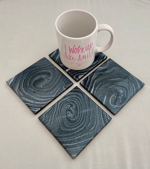 Hand Painted Tile Coaster Set