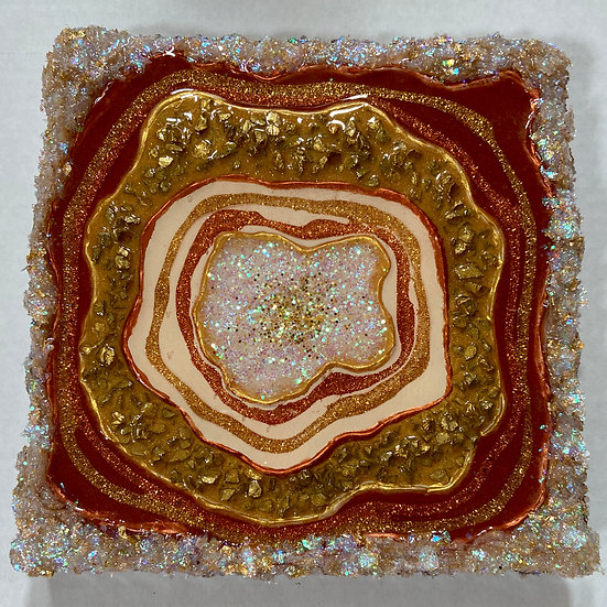 Rose Gold and Gold Abstract Geode