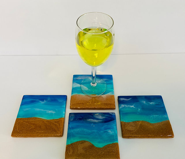 Hand Painted Tile Coaster Set of 4 / Beach Coasters