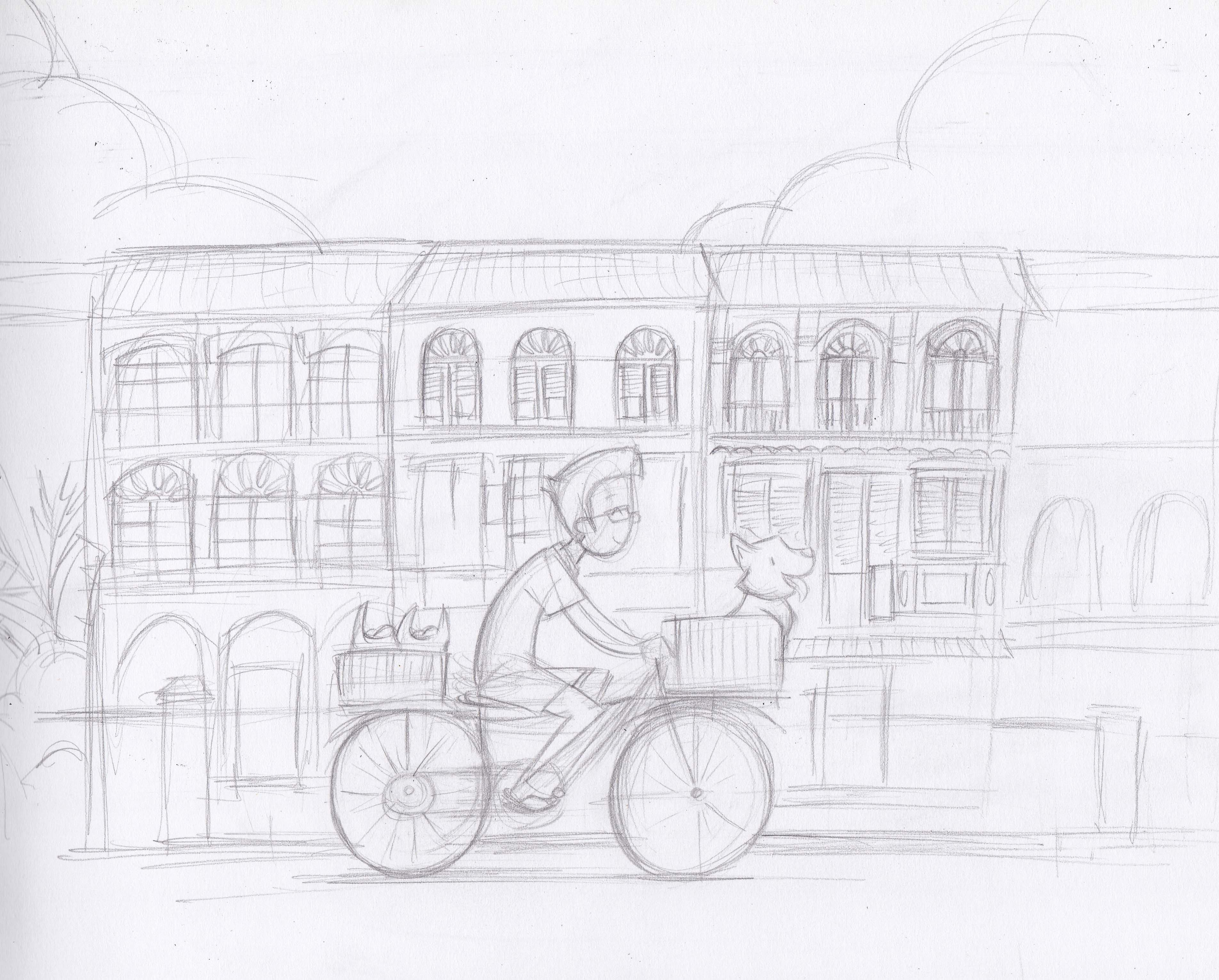 Cycling through the shophouses