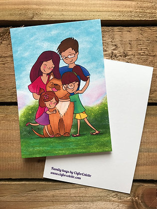Family hugs postcard