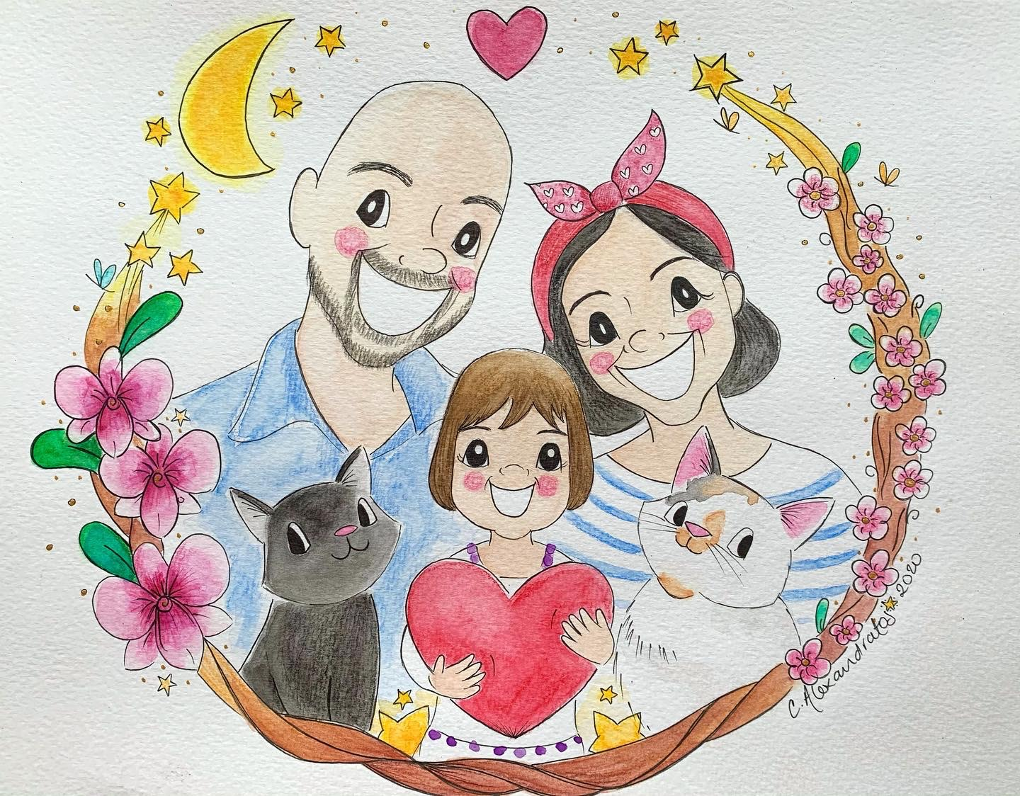 Family watercolour portraits