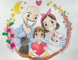 Family watercolour portraits