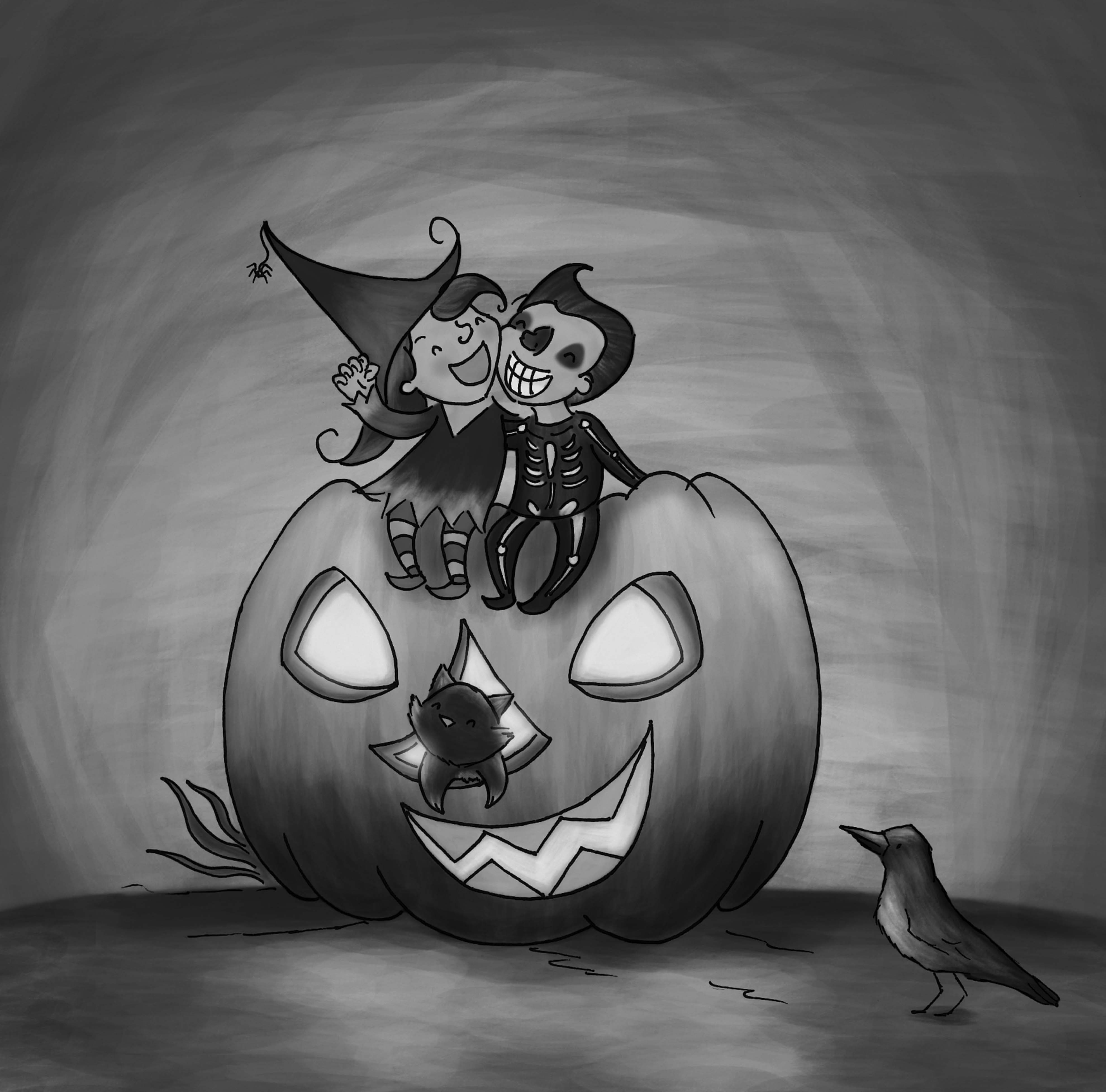 Happy Halloween black and white