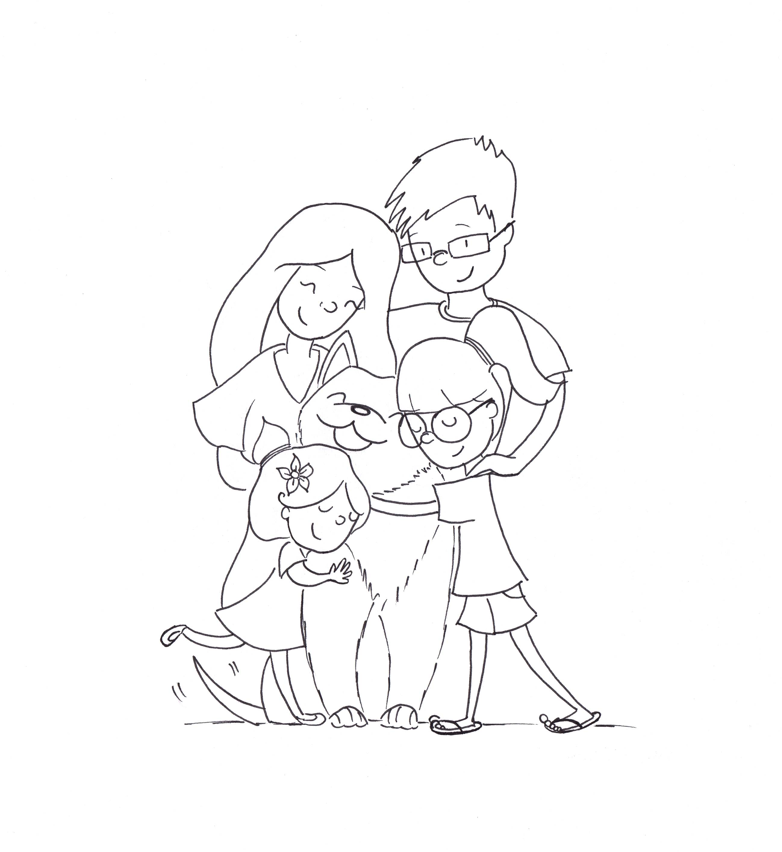 Family hugs inked