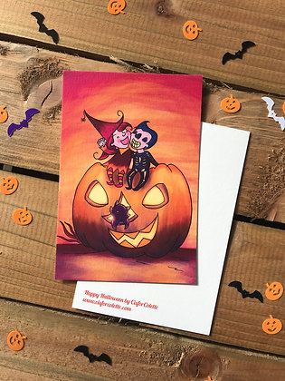 Happy Halloween colour postcard