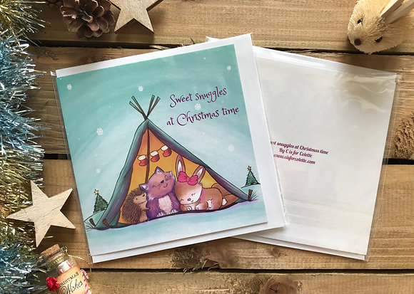 Sweet snuggles at Christmas time Greeting Card