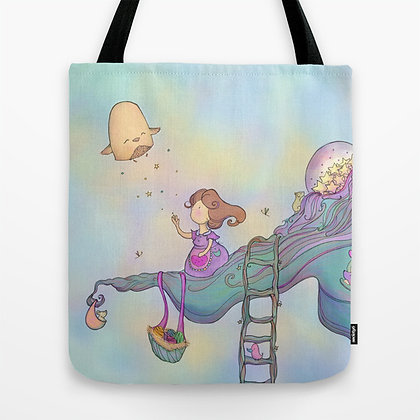 Up on the tree top - blue Tote Bag