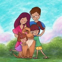 Family hugs colour version