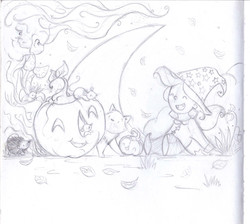 The mice of Halloween pencil sketch