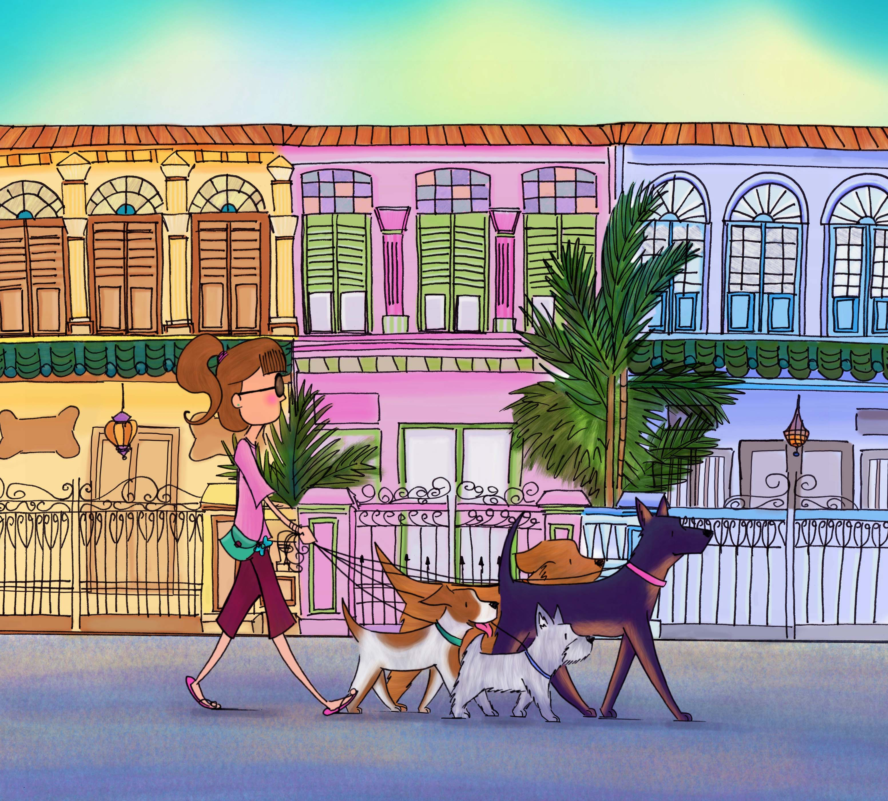 Doggie walking amongst the shophouses