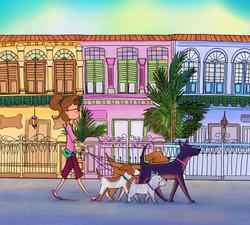 Doggie walking amongst the shophouses