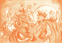 The wondering witch of Halloween pencil