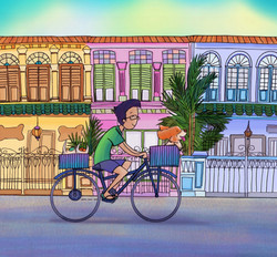 Cycling amongst the shophouses