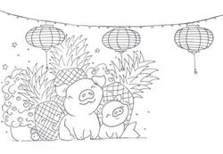 year of the pig inked drawing