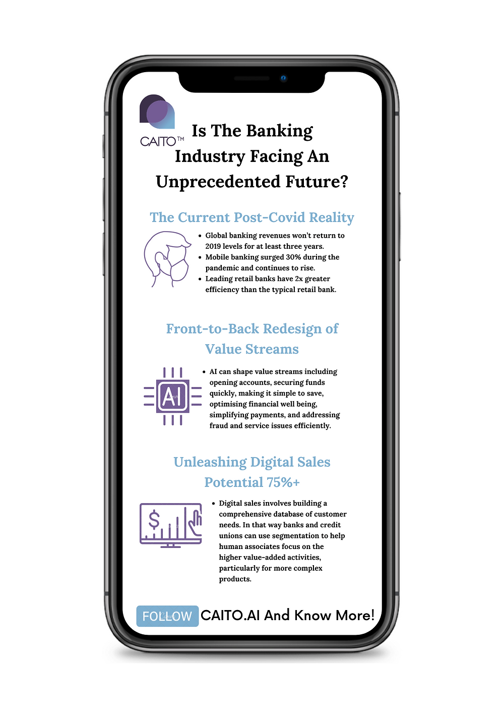 In the digital age, front-runner #Banks and #FinancialServicescompanies are reimagining processes to discover their full potential.  CAITO's #AI Solutions can support organisations in redesign of value streams, saving time, deploying tasks #automation and having human associates focus on the higher value-added activities.
