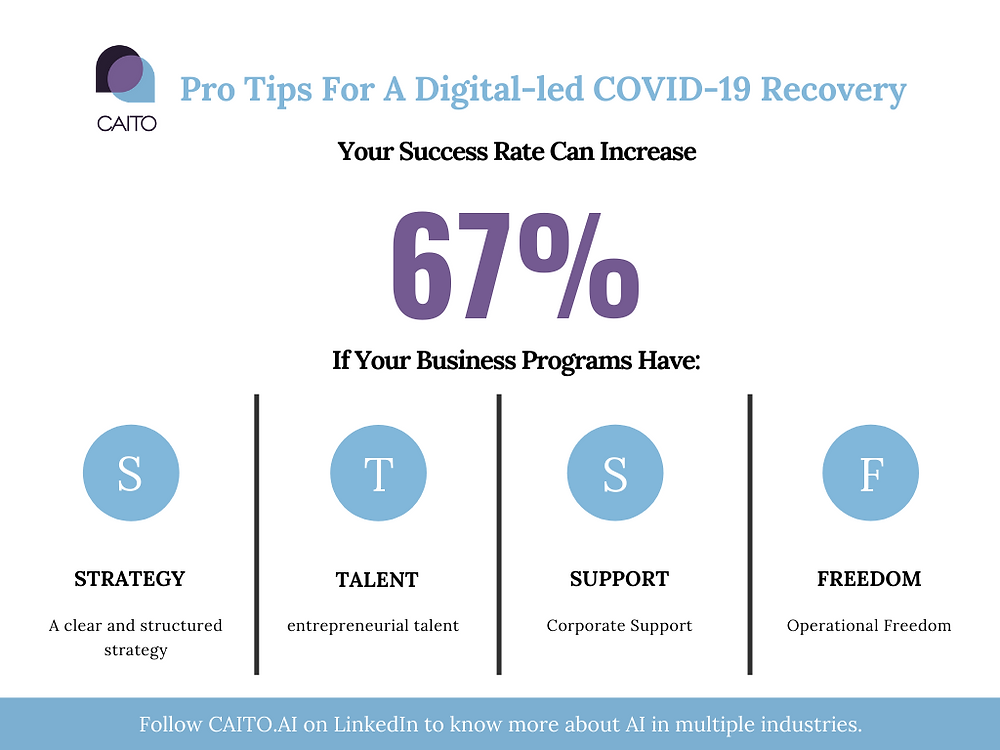 Your success rate can increase 67% if your business programs have: strategy, talent, support and freedom.