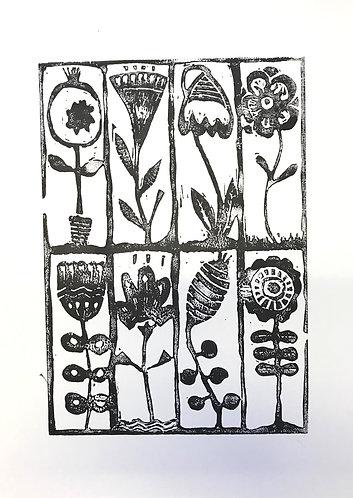 Linoldruck  flowerpower  handsigniert Din A3 Hochformat