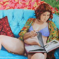 "Girls No. 1, acrylic on canvas, 42"" x 62"", 2019"