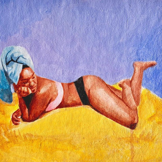 """Woman with Towel, acrylic on canvas, 8"""" x 9"""""""