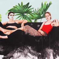 "Girls No. 5, acrylic on canvas, 70"" x 80"", 2019"