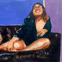 """Woman on Couch No. 2, acrylic on paper, 16"""" x 20"""""""