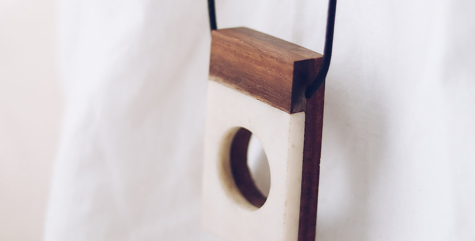 Marble and Wood Contemporary Pendant Necklace