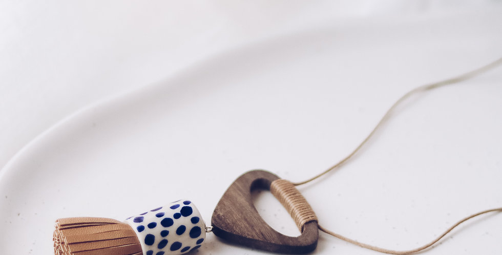 Ceramic Pendant Necklace with Leather Tassle