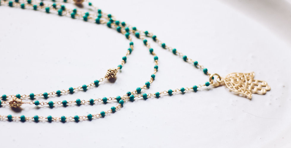Hamsa Hand Gold and Turquoise Necklace