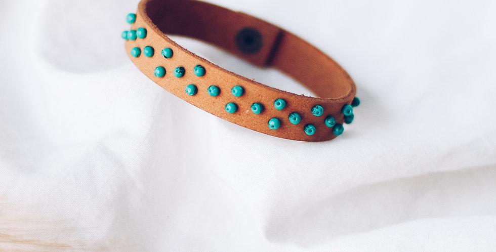 Turquoise Beaded Leather Bracelet