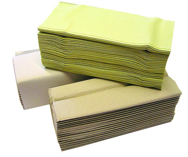 Papier Handtuch (Krepp), grün, natur u. hochweiß