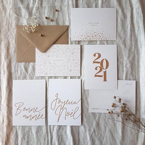 Cartes de voeux à l'unité (minimaliste ocre)