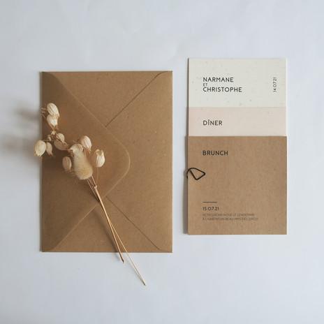 Faire-part mariage néo bohème minimaliste