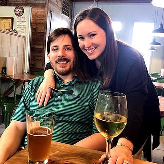 Garrett & Sophia enjoying a Huger Street IPA and some Chardonnay.