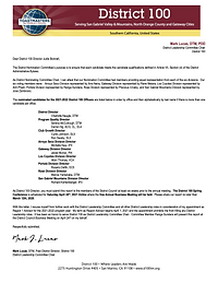 2021 District Leadership Committee Repor