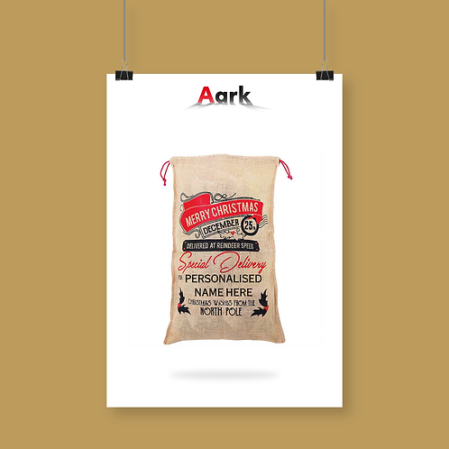 Merry Christmas Large Christmas Sack with Space for Personalisation