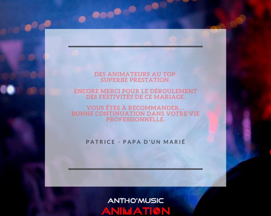 AVIS PATRICE PAPA - ANTHO'MUSIC ANIMATIO