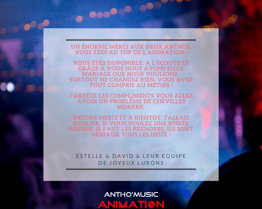 AVIS ESTELLE & DAVID - ANTHO'MUSIC ANIMA