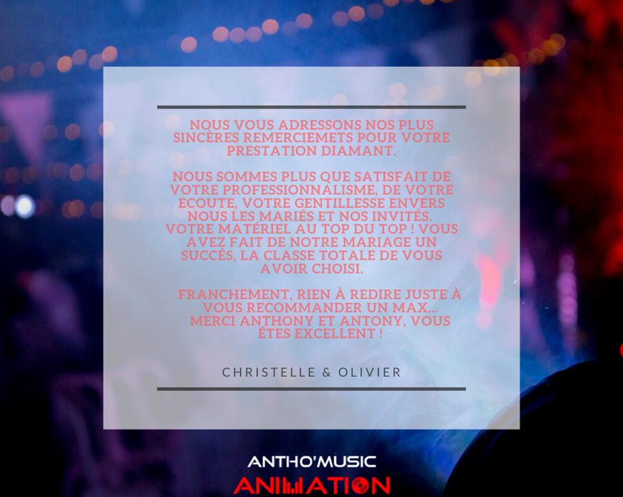 AVIS CHRISTELLE & OLIVIER - ANTHO'MUSIC