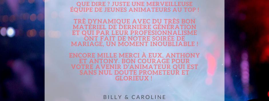 AVIS BILLY & CAROLINE - ANTHO'MUSIC ANIM