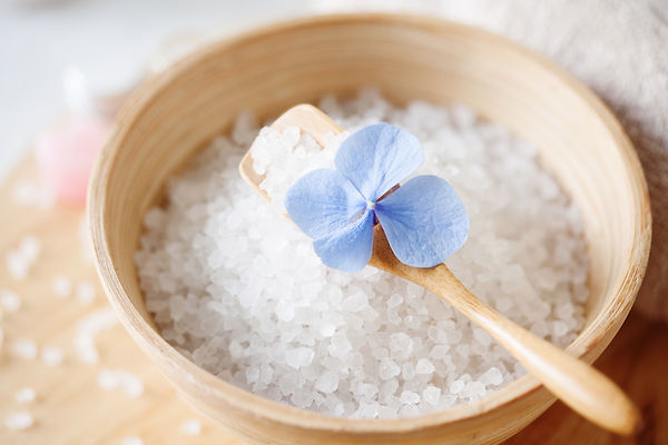 Large White sea salt in a natural wooden