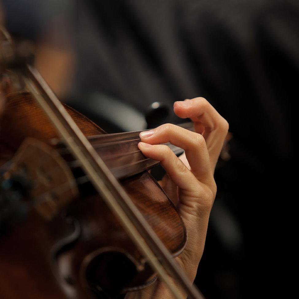 Violinist Fokus auf Handhaltung