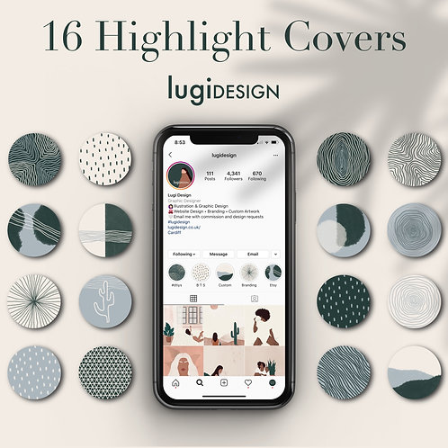 16 Cool Tones Abstract Highlight Covers