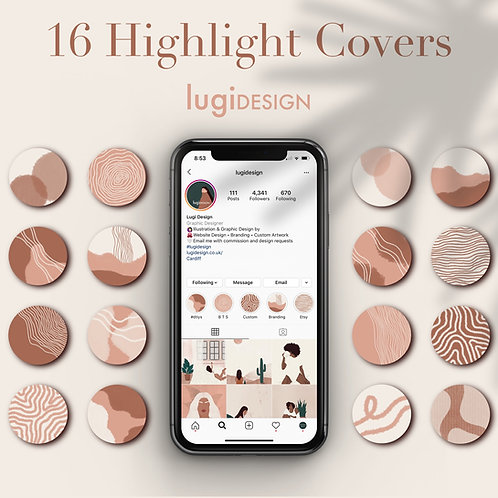 16 Peach Tones Abstract Highlight Covers