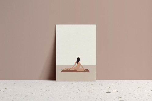 nude yoga illustration art print minimal neutral mockup by lugi design